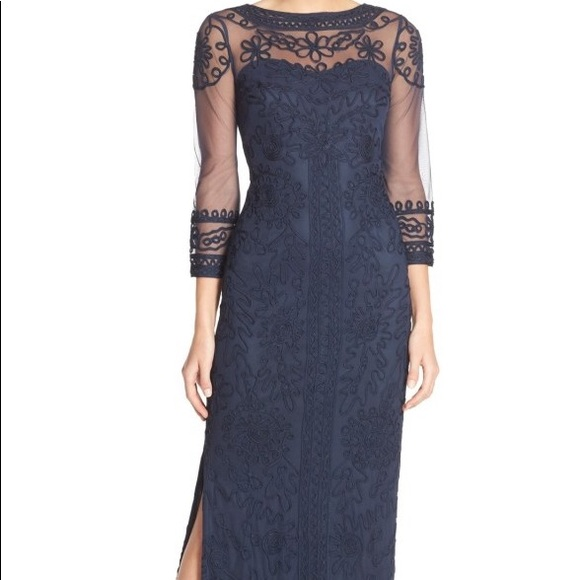 Js Collections Dresses Js Collection Navy Blue Sheer Illusion